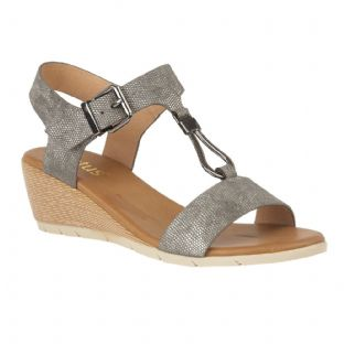 Lotus Womens Ginny Pewter Wedge Open Toe Sandals